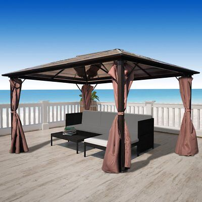 New Gazebo with Brown Curtain 400 x 300 cm Weather-resistant Aluminium PC Board