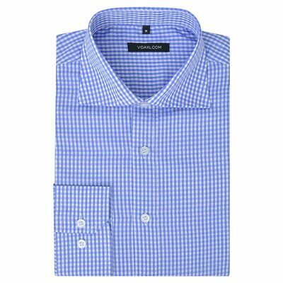 vidaXL Men's Business Shirt Work Social Formal White +Light Blue Check Size XL