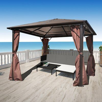 New Gazebo with Brown Curtain 300 x 300 cm Weather-resistant Aluminium PC Board