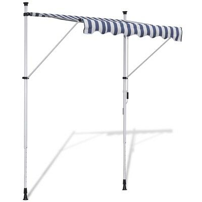 New 2x1.2m Retractable Awning Canopy Folding Arm Manually-operated Blue/White