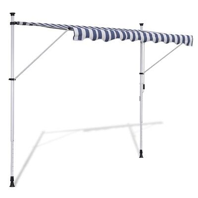 New 3.5x1.2m Retractable Awning Canopy Folding Arm Manually-operated Blue/White