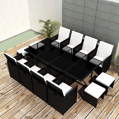 vidaXL 33 Piece Outdoor Dining Set Table/Chair/Stool/Cushion Black Poly Rattan