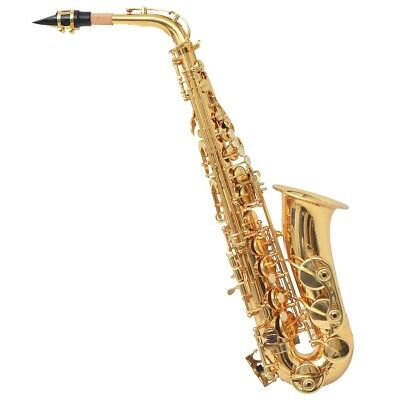 vidaXL Alto Saxophone Yellow Brass w/ Gold Lacquer Eb Carrying Case/Cleaning Set