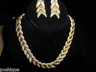 Vintage Set Necklace Earrings Statement Gold Tone Choker Linked Chic Spring