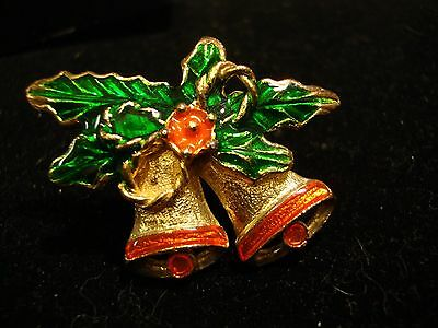 Christmas Pin Gold Tone w Enameled Bells and Holly (065)