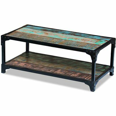 Solid Reclaimed Recycled Wood Steel Coffee Table Desk Stand Rustic Handmade