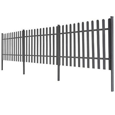 WPC 3 pcs Garden Terrace Picket Fence Barrier 6 m Long 100cm High Grey with Post