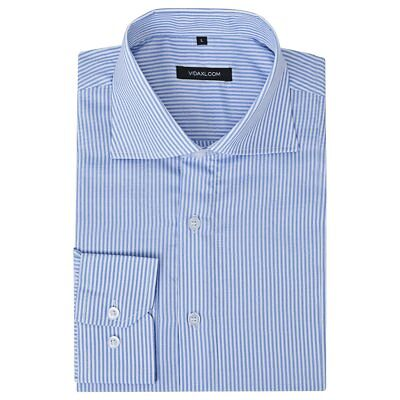 vidaXL Men's Business Shirt Work Social Formal White and Blue Stripe Size M