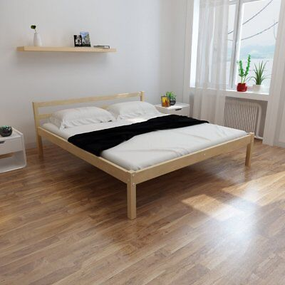 New Natural Solid Pinewood Bed 200 x 180 cm Easy Assembly Plywood Slats Sturdy