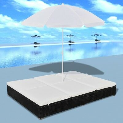 New Luxury Outdoor Poly Rattan Sun Lounger 2 Persons with Umbrella Black