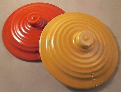 "Two Bauer Pottery Ring Ware 6 1/8"" Casserole Lids, Red/Orange and Yellow"