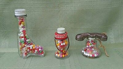 Vintage Glass Candy Containers Railroad Lantern Telephone Boot Lot of 3