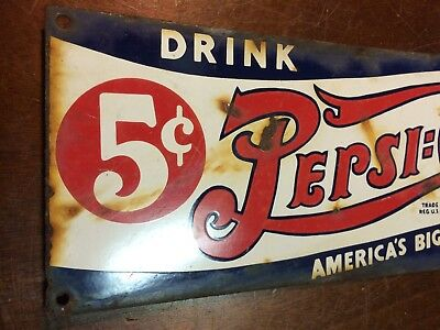 "Vintage Pepsi Cola Porcelain Five Cent Advertising Sign Gas General store 18""x6"""