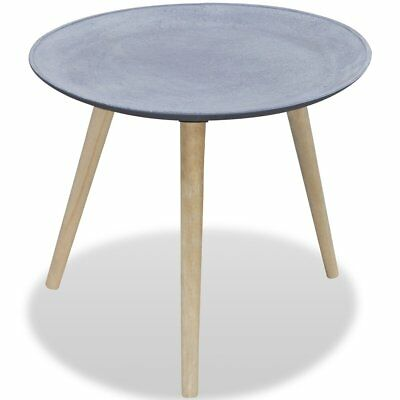 Grey Concrete Look Side Table Coffee Desk Round Display Stand End Lamp