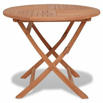 vidaXL Outdoor Garden Dining Picnic Camping Table Folding Round Solid Teak Wood