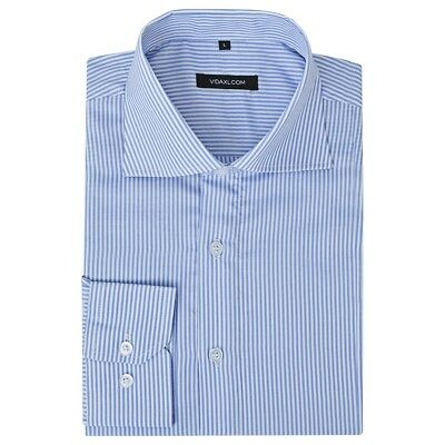 vidaXL Men's Business Shirt Work Social Formal White and Blue Stripe Size S