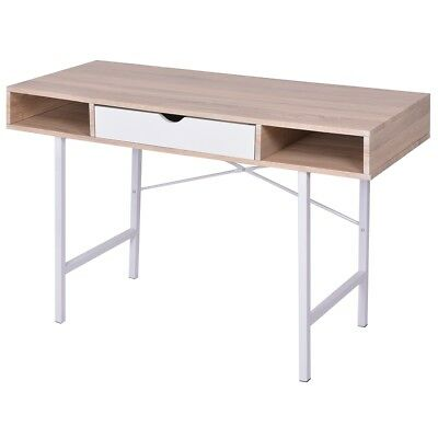 vidaXL Desk Writing Table WorkStation Computer with 1 Drawer Oak and White