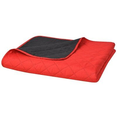 vidaXL Double-sided Quilted Bedspread Red and Black 220x240 cm Machine Washable