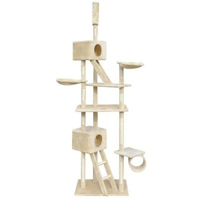 230-260cm 2 Houses Cat Tree Scratching Post Activity Centre Bed Toy Kitten Beige
