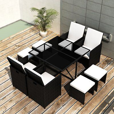 vidaXL 21 Piece Outdoor Dining Set Table/Chair/Stool/Cushion Black Poly Rattan
