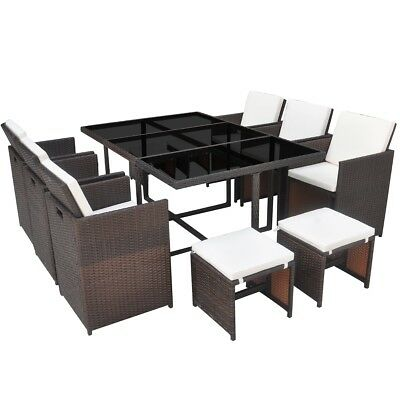 vidaXL 27 Piece Outdoor Dining Set Table/Chair/Stool/Cushion Brown Poly Rattan