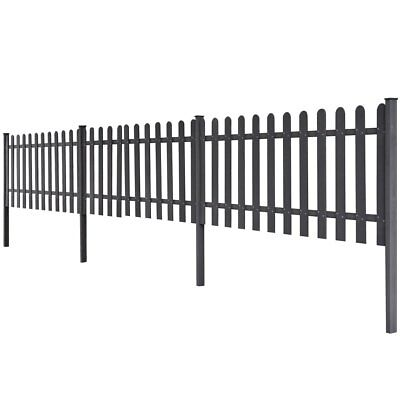 WPC 3 pcs Garden Terrace Picket Fence Barrier 6 m Long 60 cm High Grey with Post