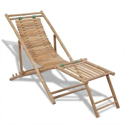 New Bamboo Deck Chair with Footrest 4 Height Settings 152 x 59 x 80 cm