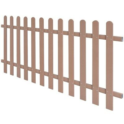 WPC Picket Fence Panels Portable Event Display Barrier Temporary 200x80 cm Brown