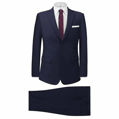Men's Two Piece Formal Dinner Wedding Business Suit Jacket/Trousers Navy Size 46
