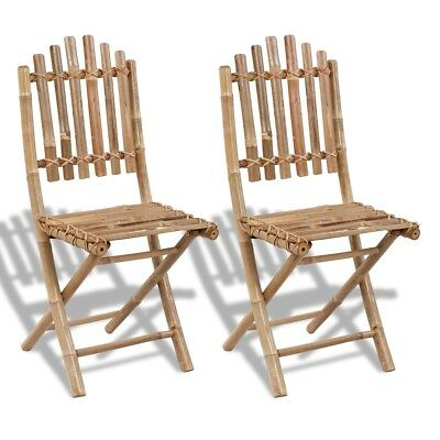 New 2 pcs Foldable Bamboo Chair Weather-resistant 50 x 42 x 92 cm (W x D x H)