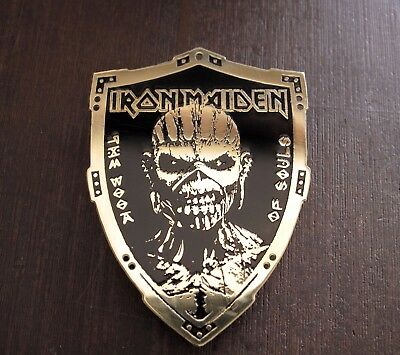 IRON MAIDEN Book Of Souls Engraved Brass Badge Patch Pin, Collector's Grade