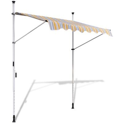 New 1.5x1.2m Retractable Awning Canopy Folding Arm Manually-operated Yellow/Blue