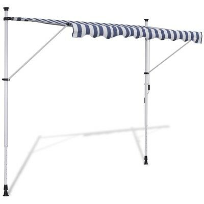New 4x1.2m Retractable Awning Canopy Folding Arm Manually-operated Blue/White