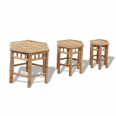 New 3 pcs Hexagonal Bamboo Stool Set Weatherproof High-quality Dining Room