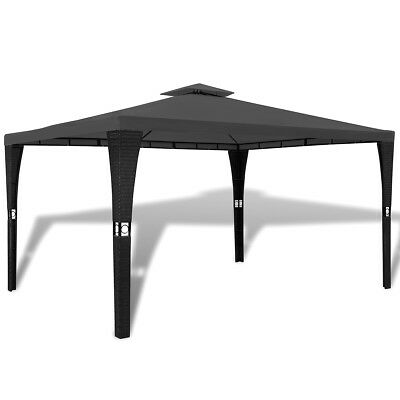 New Poly Rattan Gazebo with Dark Grey Roof 3 x 4 m Weather-resistant Polyester