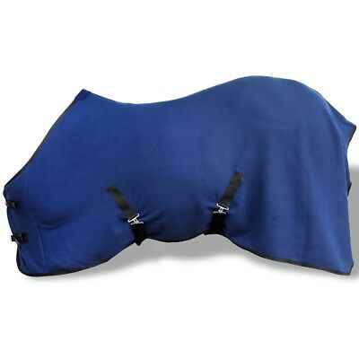 Horse Fleece Rug with Surcingles Blue 145 cm Riding Wear Rugs Sports Outdoor