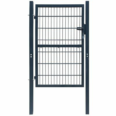 vidaXL Fence Gate Security Barrier Garden Terrace Steel Anthracite 106x250 cm