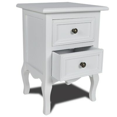 New Modern White 2 Drawer Nightstand Night Stand Beside Table Bedstand