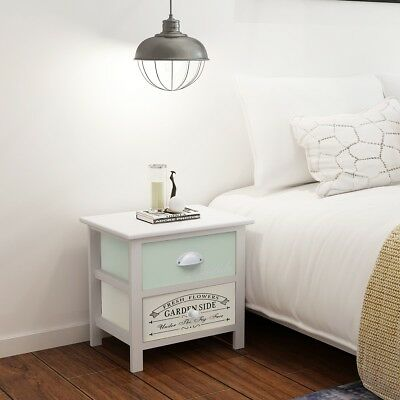 2 pcs Wood Shabby Chic French Bedside Cabinet Table Night Stand End Storage