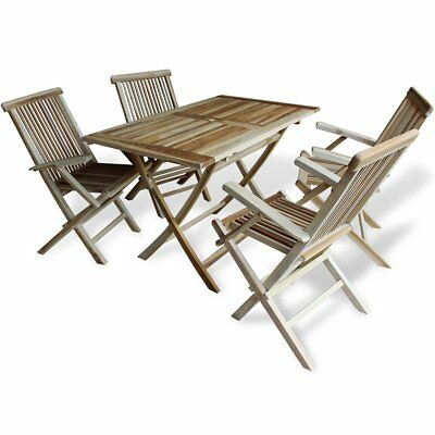 Teak 5 Piece Wooden Outdoor Dining Garden Patio Furniture Folding Table Chairs