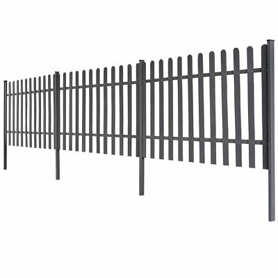 WPC 3 pcs Garden Terrace Picket Fence Barrier 6 m Long 120cm High Grey with Post