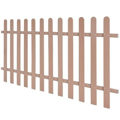 WPC Picket Fence Panel Portable Event Display Barrier Temporary 200x100 cm Brown