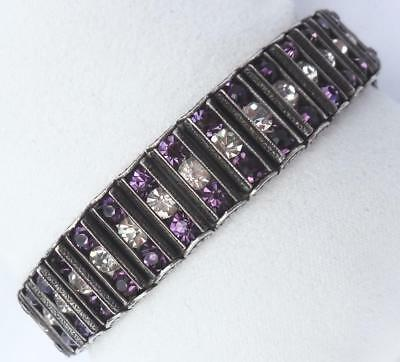 Vtg Art Deco PURPLE & CLEAR 3-Row Channel-Set Rhinestone Bracelet~LEACH & MILLER