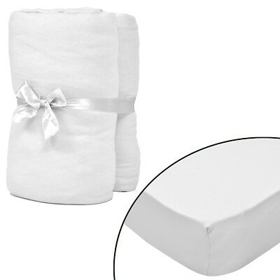 New 2 pcs White Fitted Sheet for Mattress 180 x 200 - 200 x 220 cm Cotton Jersey