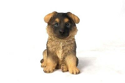 Sitting GERMAN SHEPHERD Puppy Dog  Realistic Life Like Statue Home Garden Decor