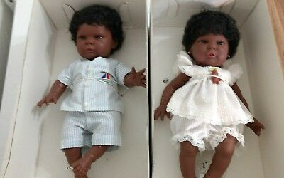 2 Vtg Berenguer Berjusa Vinyl Anatomically Boy & Girl Baby Doll Ethnic Black MIP