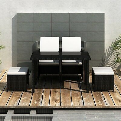 New Poly Rattan Furniture Set Dining Set Cushion 1 Table 2 Chairs 2 Stools Black