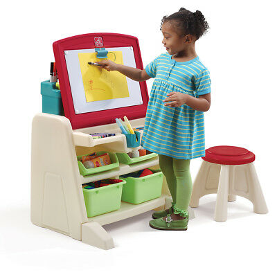 Step2 Easel Desk Drawing Table Work Station with Stool Flip & Doodle 836500