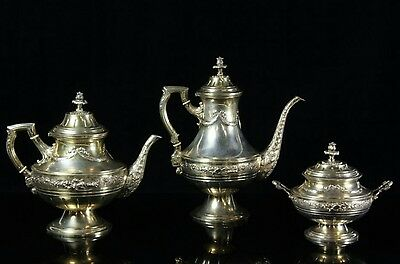 Beautiful 19C Antique Silver Gilt Louis XVI Style Chased German Coffee Set Hanau
