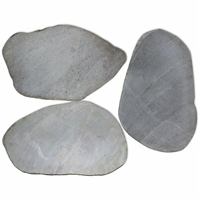 3 pcs Garden Stepping Stones Natural River Stone Paving Pathway Lawn Steps Set